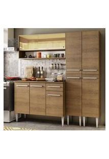 Cozinha Compacta Madesa Emilly Winter Com Armário Vidro Reflex E Balcão Rustic