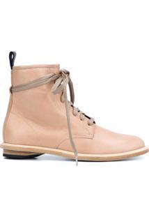 Valas Ankle Boot De Couro Com Cadarço - Neutro