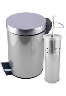 Lixeira 5 Litros E Escova Sanitária Dolce Home - Inox