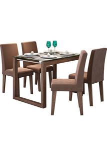 Conjunto De Mesa Anita Para Sala De Jantar Com E 4 Cadeiras Milena -Cimol - Marrocos / Chocolate