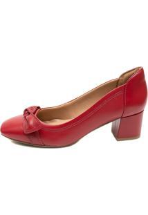 Sapato Pattini Comfort Em Couro Salto Grosso Chilli