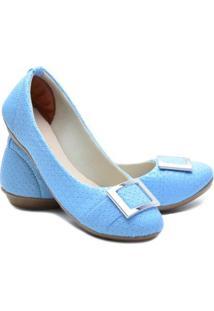 Sapatilha Ded Calçados Bico Redondo Feminina - Feminino-Azul