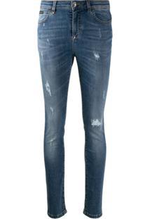 Philipp Plein Distressed Skinny Jeans - Azul