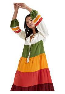 Vestido De Seda Longo Multicolorido Multicolorido