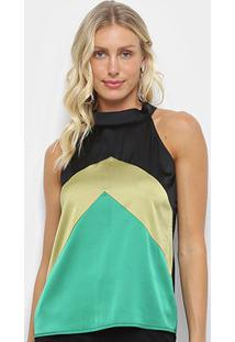 Blusa Heli Multi Color Feminina - Feminino-Verde