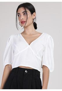 Blusa Feminina Manu Gavassi Cropped Manga Bufante Decote V Off White