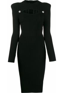 Balmain Vestido De Tricô Vazado - Preto