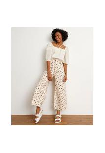 Calça Wide Pantalona Cropped De Sarja Estampada Floral Cintura Super Alta Bege