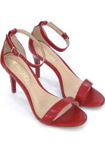 Sandalia Via Uno Salto Alto Fino Feminina - Feminino-Vermelho