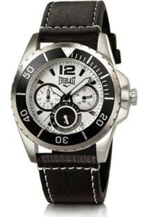 a8a9032d2fe ... Relógio Pulso Masculino Everlast Pulseira Couro Cronógrafo - Masculino- Preto+Branco