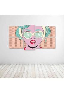 Quadro Decorativo - Pop Art Girl (2) - Composto De 5 Quadros