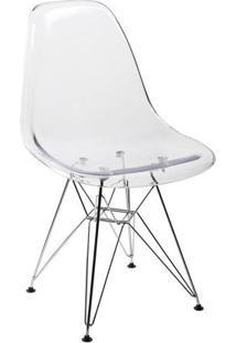 Cadeira Dkr Eames Policarbonato Base Eiffel Ferro Transparente