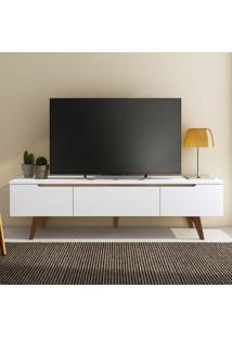 Rack Para Tv 2 Portas 1 Gaveta Com Pés Cancún Branco/Rustic - Madesa