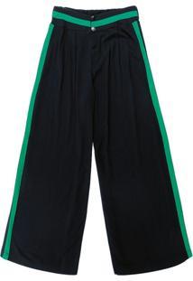 Calça Pantalona Em Viscose Preto
