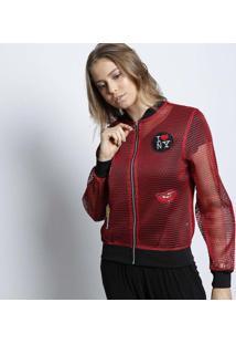 Jaqueta Em Telas Com Patches - Vermelha & Preta- Suzsusan Zheng