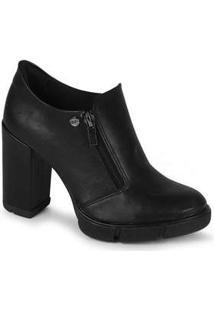 Ankle Boots Feminina Quiz Zíper Preto