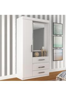 Guarda-Roupa 2 Portas 3 Gavetas 1Gr2307 Com Espelho Branco - Rodial