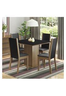 Conjunto Sala De Jantar Madesa Alana Mesa Tampo De Madeira Com 4 Cadeiras - Rustic/Preto Marrom