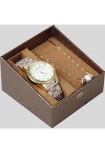 Kit De Relógio Analógico Mondaine Feminino + Colar - 53680Lpmvdf1K Transparente - Único