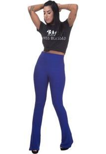 Calça Cintura Alta Miss Blessed Flare Bandagem Feminina - Feminino-Azul Royal
