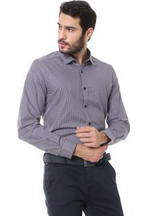 Camisa Aramis Slim Fit Xadrez Marrom/Branco