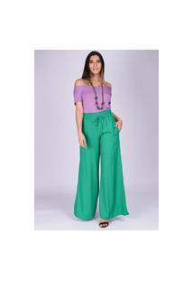 Calça Pantalona Viscose Com Fenda Verde Light