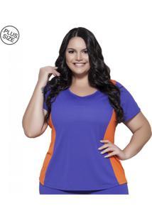 Blusa Di Paula Plus Size Bicolor Azul