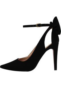 Scarpin Salto Alto Week Shoes Laço Traseiro Preto - Kanui