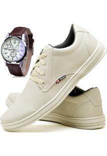Kit Sapatênis Sapato Casual Com Relógio Cr Shoes Com Cadarço 1510M Areia Bege