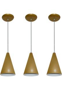 Kit 03 Pendentes De Alumínio Modelo Cone Ideal Para Balcão / Bancada Dourado