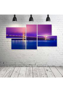 Quadro Decorativo - Golden-Gate-(2) - Composto De 5 Quadros