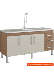 Balcão De Cozinha Flex 3 Pt 3 Gv Amêndoa E Off White