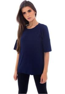 Blusa Moda Vicio Com Abertura Na Lateral Feminino - Feminino-Azul