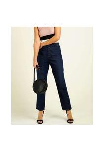 Calça Jeans Reta Feminina Botões