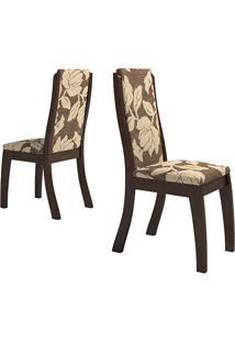 Kit 2 Cadeiras Click Floral Café/Tabaco - Classic Home
