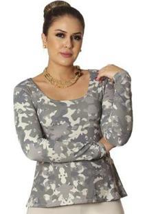 Blusa Ficalinda Estampa Camuflada Exclusiva Decote Redondo Evasê Feminina - Feminino-Verde