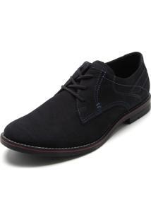 Sapato Social Couro Pegada Pesponto Azul-Marinho