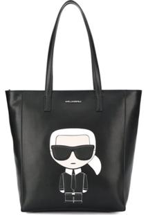 Karl Lagerfeld Bolsa Tote Shopping Com Patch De Logo - Preto