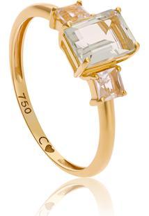Anel De Ouro 18K Com Pedra De Prasiolita E Cristal