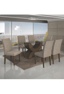 Conjunto De Mesa De Jantar Com 6 Cadeiras Olimpia Veludo Ipê E Caramelo I