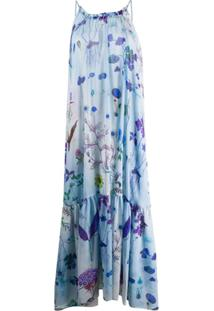 Stella Mccartney Vestido Longo Com Estampa Floral E Abertura Posterior - Azul