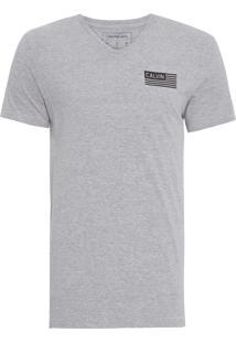 Camiseta Masculina Manga Curta Bandeira Calvin - Cinza