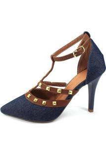 Scarpin Zhaceci Salto Alto Com Spike Jeans - Feminino-Azul