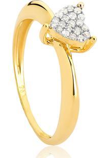 Anel De Ouro18K Coração Pavê De Diamantes Rodinados-Coleção Cuore