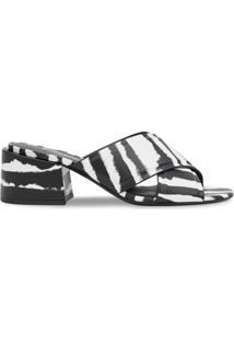 Burberry Sandália Com Estampa De Zebra - Preto