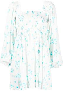 Ganni Vestido Com Estampa Floral De Crepe - Branco