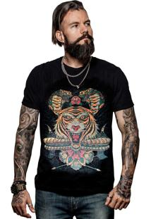 Camiseta Caráter Tigre Tattoo Preta