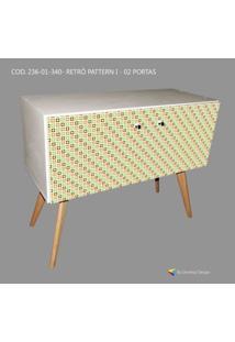 Armário Retrô Customizado Pattern I 2P, Mdf Branco, Pés Palitos, 71X90X35Cm (Axlxp), Develop Design