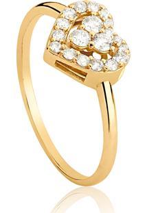 Anel De Ouro 18K Aro Com Coração Vazado De Diamantes-Coleção New Heart