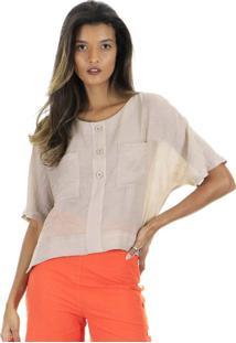 Blusa Cropped Lisa Manga Curta Com Abotoamento Frontal - Kanui